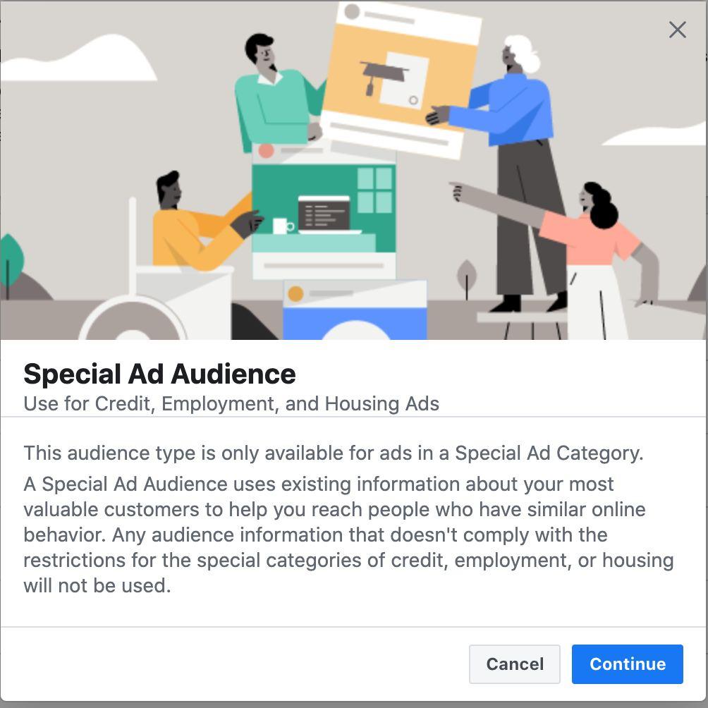 Facebook ads special audiences